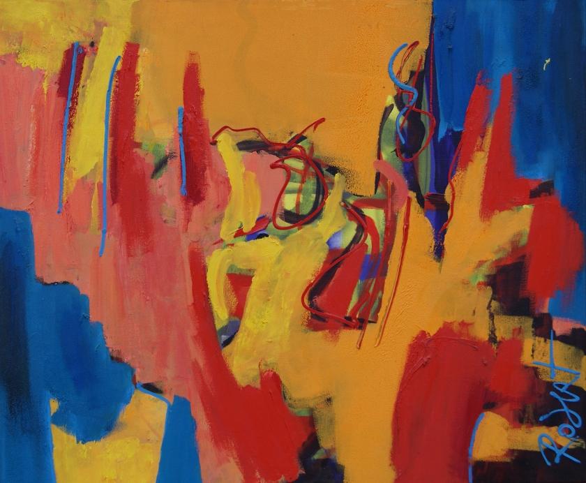 Geraakt, olieverf op doek, schilderij, 120 * 100 cm, Robert Pennekamp, schilderij, olieverf, olieverf schilderij, abstract, figuratief, expressief