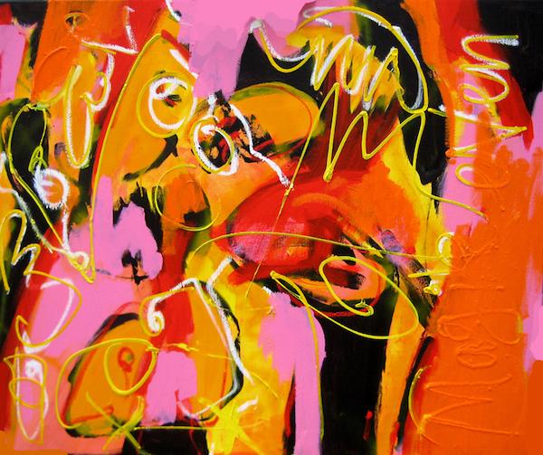 Mag ik even, 120 * 100 cm, gemengde technieken op doek, Robert Pennekamp