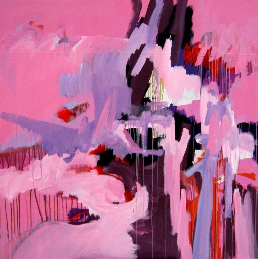 Last Forever, best, beter, collectie, kunstverzamelaar, beste, top 10, schilderij, acryl op kickboksmat, 150 x 150 cm, Robert Pennekamp, roze, paars, aquarel, acryl verf, contemporary art, 2 dimensionaal, top,