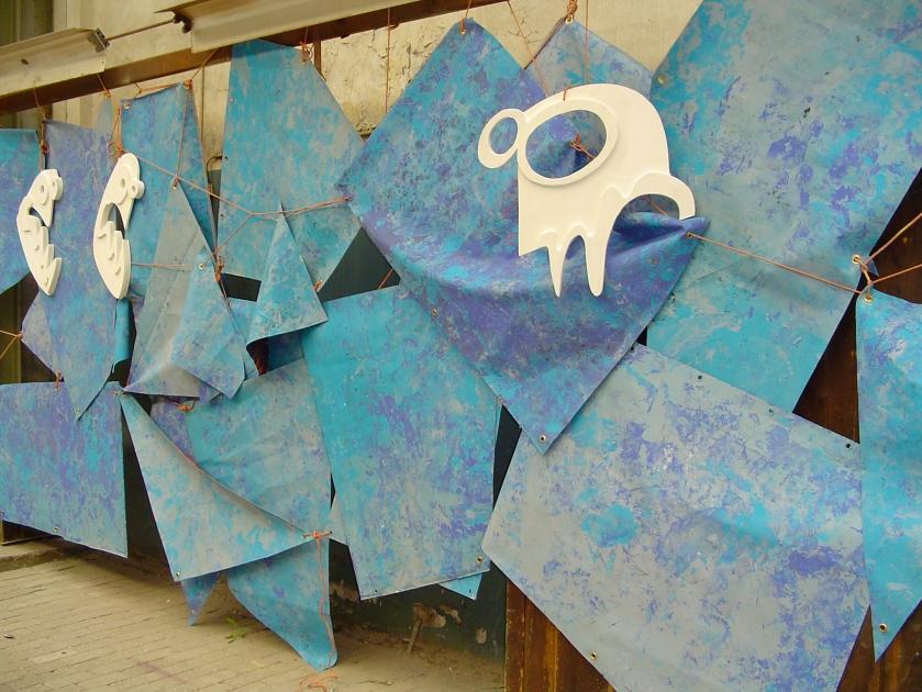 proefopstelling, witte, symbolen, blauw, vangendthallen, amsterdam, experiment, zeil, Robert Pennekamp, Van Gendthallen 2007, Amsterdam
